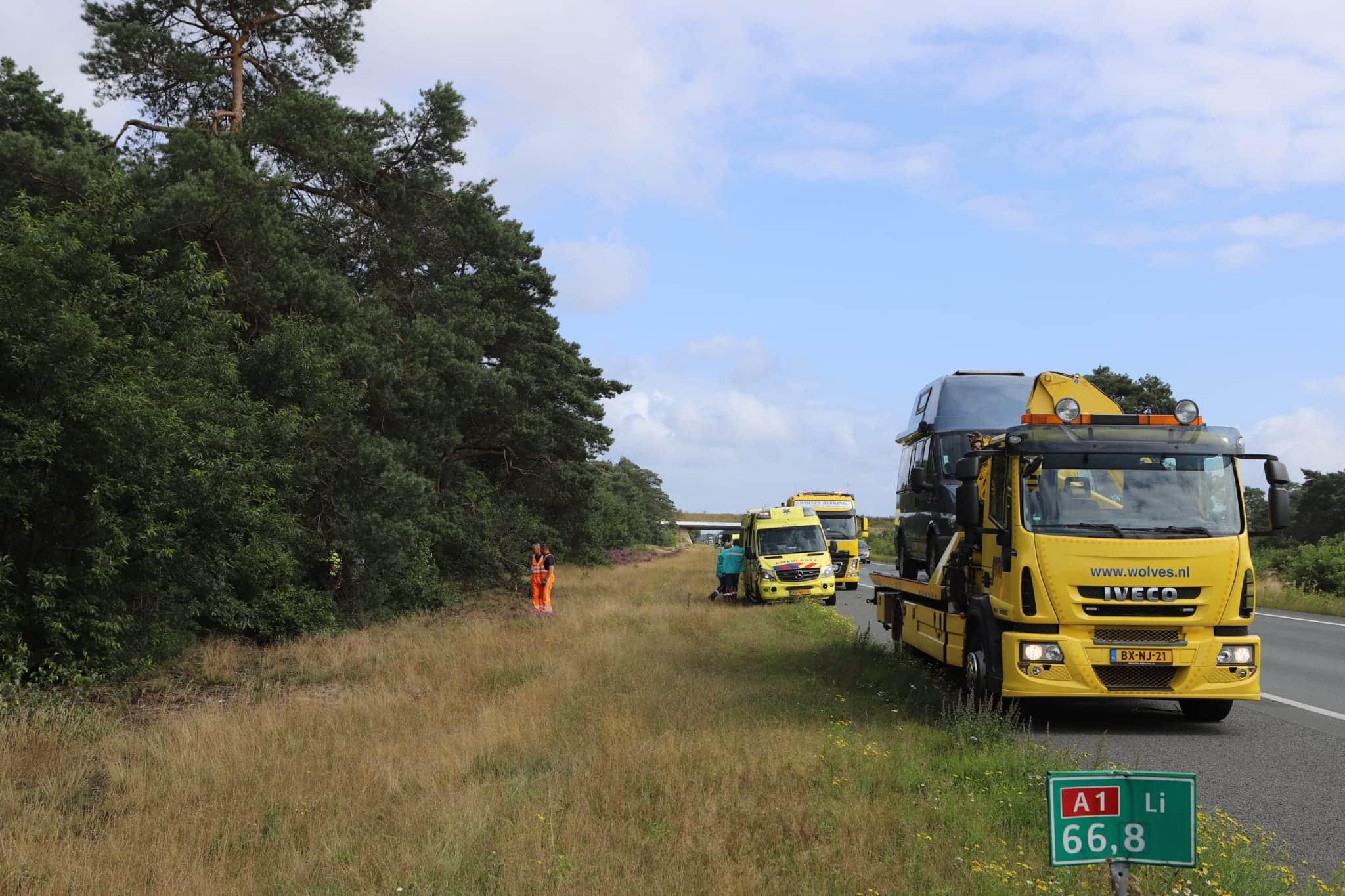 Ongeval op de A1 bij Kootwijk.